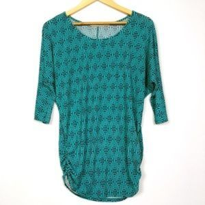 41 Hawthorn Teal Geometric Ruched Tunic Top